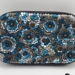 Coach Sadie Leather Sequin Crossbody Clutch Blue